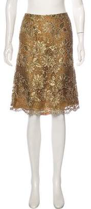 Oscar de la Renta Knee-Length Metallic Skirt