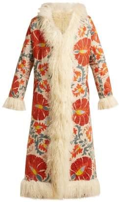 ZAZI Vintage Suzani Embroidered Shearling Coat - Womens - 243 White Multi