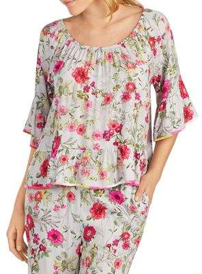 Kensie Floral Off-the-Shoulder Pajama Top