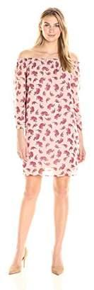 James & Erin Women's Long Sleeve Off The Shoulder Smocked Dress