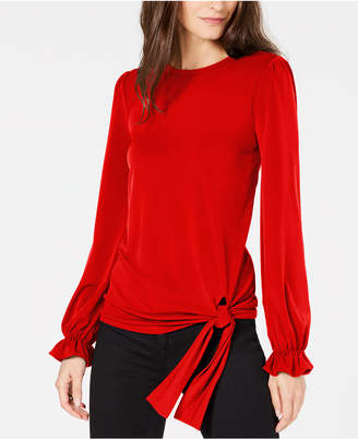 Michael Kors Statement-Sleeve Side-Tie Blouse
