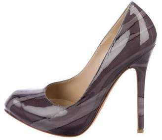 Alexander McQueen Patent Leather Round-Toe Pumps