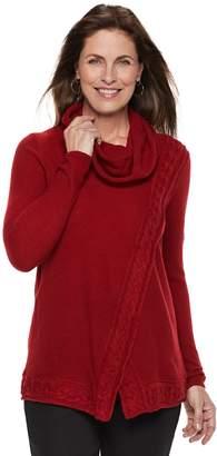 Croft & Barrow Women's Cable-Knit Trim Cowlneck Sweater