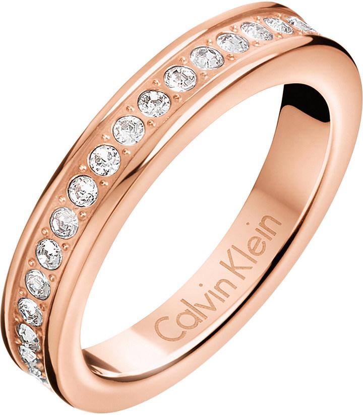 Calvin KleinCalvin Klein Hook rose gold-tone pavé crystal ring