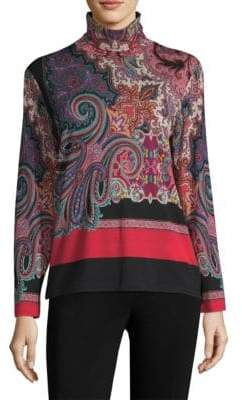 Etro Paisley Turtleneck Jersey Top