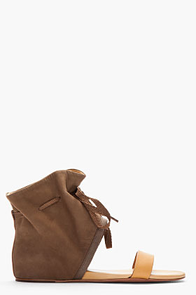 See by Chloe Taupe Leather Two-Tone Flat Sandal Boots