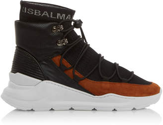 Balmain Jasper-Knit And Leather High-Top Sneakers