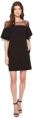 Badgley Mischka Bell Sleeve Sack Dress w/ Swiss Dot Women's Dress