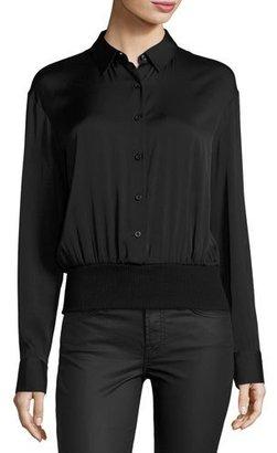 DKNY Long-Sleeve Stretch Silk Pullover Shirt, Black $358 thestylecure.com