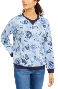 Karen Scott Petite Printed Crewneck Sweatshirt, Created for Macy's