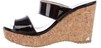 Jimmy Choo Patent Leather Slide Wedges