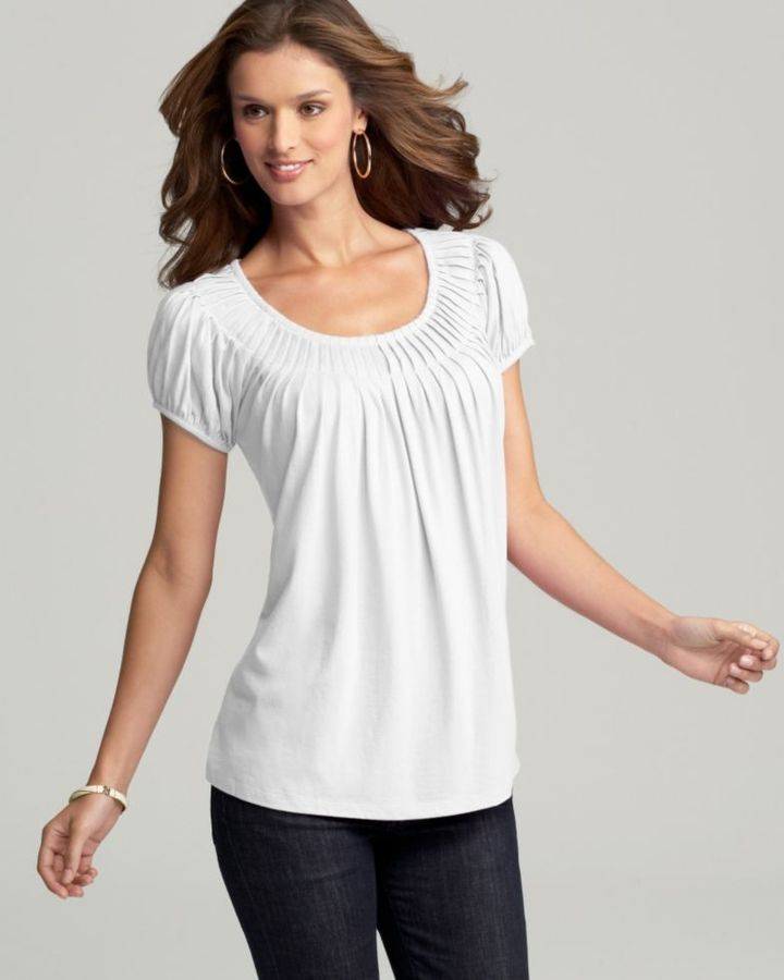 Style&co. Short Sleeve Pleated Knit Top