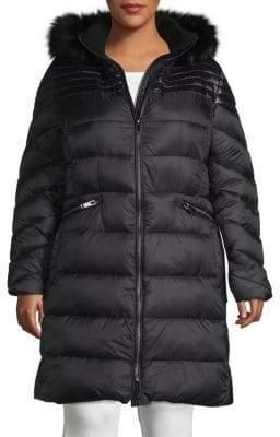 Rachel Roy Plus Faux Fur Trim Puffer Jacket