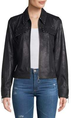 Highline Collective Studded Faux Suede Cropped Jacket