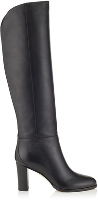 Jimmy Choo MADALIE 80 Black Smooth Leather Knee High Boots