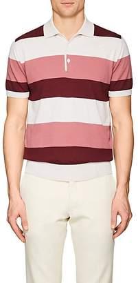 Luciano Barbera Men's Striped Cotton Polo Shirt