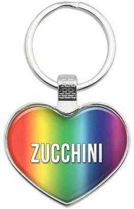 Generic Zucchini - I Love Food Metal Heart Keychain Key Chain Ring, Rainbow