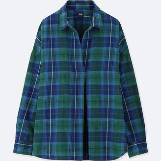 Uniqlo Women's Flannel Checked Skipper Long-sleeve Shirt