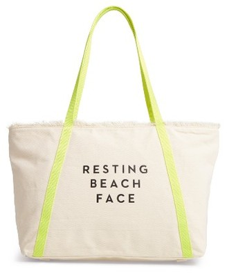 Milly Resting Beach Face Canvas Tote - Ivory $155 thestylecure.com