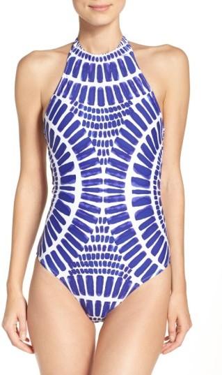 Women's Trina Turk 'Algiers' High Neck One-Piece Swimsuit