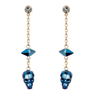 Nadia Minkoff - Crystal Skull and Spike Earrings Metallic Blue