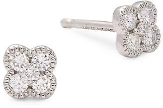 KC Designs Women's Diamond and 14K White Gold Clover Stud Earrings