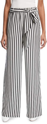 Frame Wide-Leg Striped Silk Easy Pants