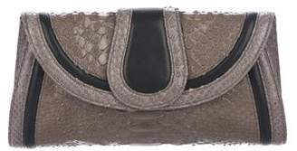 Giorgio Armani Python Leather-Trimmed Clutch