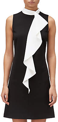 Adrianna Papell Crepe Corkscrew Detail Dress, Black/Ivory