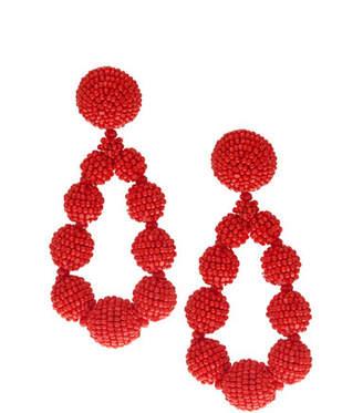 Sachin + Babi Seed Bead Teardrop Clip-On Earrings, Red