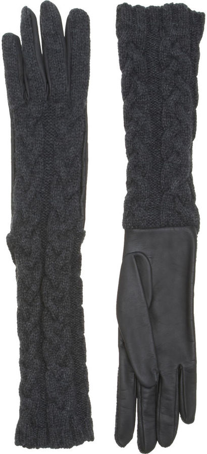 Barneys New York Long Cable Knit Gloves