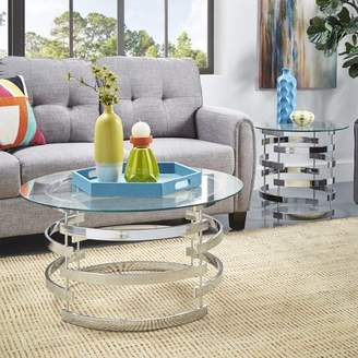 Weston Home Bayport Round Glass Entryway Accent Table With Gold Base