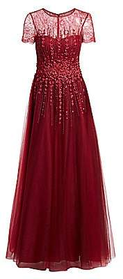 Teri Jon by Rickie Freeman Women's Illusion Floor-Length Tulle Gown