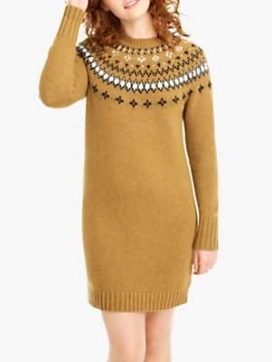 J.Crew Casey Embellished Fair Isle Dress, Camel