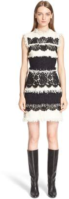 Lanvin Tweed & Lace Sleeveless Dress