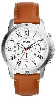 Fossil Grant Sport Chronograph Leather Strap Watch, 44mm