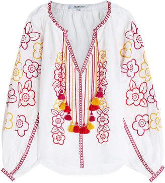 MARCH11 Nina Embroidered Linen Blouse with Tassel Ties