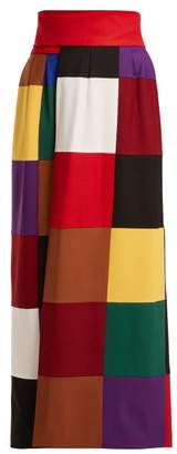 Sara Battaglia Colour Block Wrap Around Stretch Wool Skirt - Womens - Multi