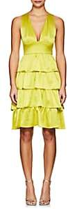 Cynthia Rowley WOMEN'S RUFFLE SILK SLEEVELESS DRESS - CHARTREUSE SIZE 0
