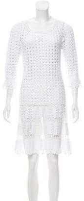 Alberta Ferretti Open Knit Mini Dress