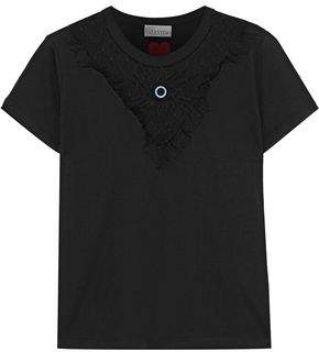 RED Valentino Embroidered Point D'esprit-Paneled Cotton-Jersey T-Shirt