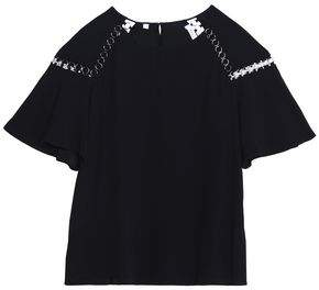 A.L.C. Sheila Ring-Embellished Crepe Top