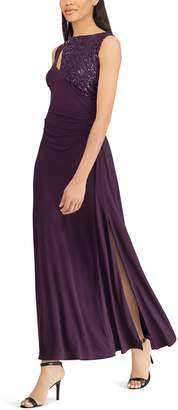Chaps Women's Sequin Yoke Evening Gown