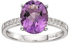 JCPenney FINE JEWELRY Genuine Amethyst and Lab-Created Sapphire Sterling Silver Ring