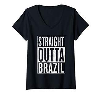 IDEA Womens Straight Outta Brazil Great Travel Outfit & Gift V-Neck T-Shirt