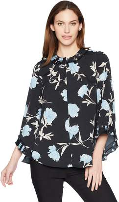 Ellen Tracy Women's Long Sleeve Top with Pleated Detail