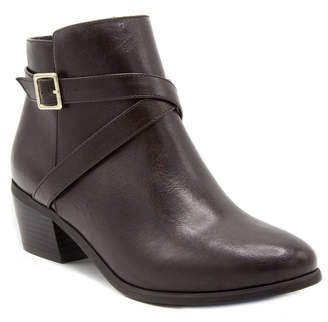 London Fog Womens Halifax Stacked Heel Zip Bootie