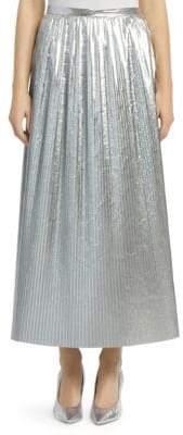 Maison Margiela Plisse Pleated Metallic Nylon Midi Skirt