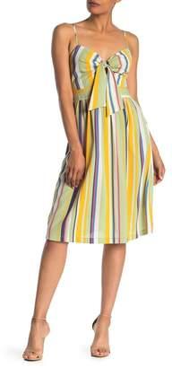 Lush Striped Front Tie Midi Dress