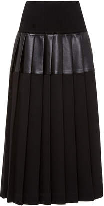 Peter Do Pleated Leather-Paneled Midi Skirt Size: S